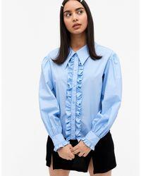 Monki Голубая Рубашка С Оборками На Лифе Из Хлопка Camina-синий