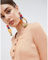ASOS - Design Statement Jewel Bead Loop Earrings - Lyst