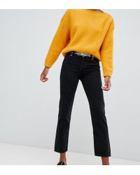 Monki Mokonok Mid Waist Straight Leg Jeans With Organic Cotton In Black