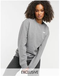 Vans – Left Chest Small Logo – Oversize-Fleece-Sweatshirt - Grau