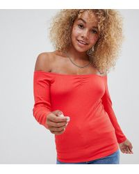 d7b348b1bad ASOS - Asos Design Petite Off Shoulder Bardot Top In Rib In Red - Lyst