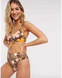 American Eagle Top de bikini multicolor con escote ancho en V y estampado floral de -Rosa