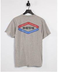 Deus Ex Machina T-shirt grigio mélange con stampa sul retro e logo