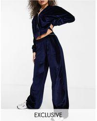 Fashionkilla Exclusive Velour Wide Leg Trouser Co Ord - Blue