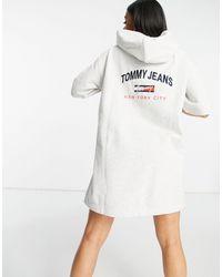 Tommy Hilfiger Серое Платье-худи С Короткими Рукавами -серый