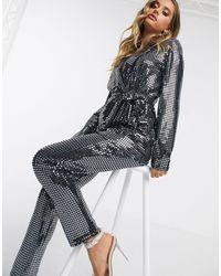 ASOS Jersey Sequin Slim Suit Trousers - Metallic