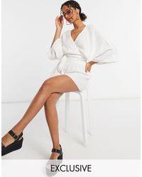 South Beach Exclusive Beach Wrap Top And Skirt - White
