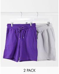 ASOS Jersey Slim Shorts Shorter Length - Purple