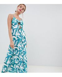 ASOS - Bunny Tie Pleated Maxi Dress In Palm Print - Lyst