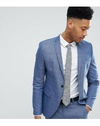 SELECTED - Tall Skinny Fit Suit Jacket In Navy Grid Check - Lyst