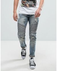Reason - Biker Jeans In Mid Wash With Distressing - Lyst