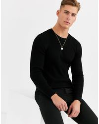 ASOS Muscle Fit Ribbed Jumper - Black