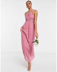 Little Mistress Bridesmaid Chiffon Maxi Dress With Embellishment And Lace Detail - Pink