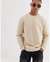 ASOS Ribbed Sweatshirt In Beige - Natural