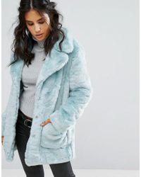Glamorous Coat In Faux Fur - Blue