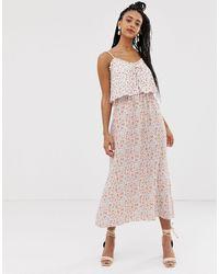 New Look Платье Миди С Цветочным Принтом И Шнуровкой Спереди -мульти - Многоцветный