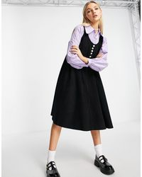 Native Youth 2 In 1 Dress With Corduroy Pinafore & Contrast Collar With Statement Buttons - Black