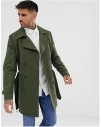 ASOS Shower Resistant Double Breasted Trench Coat - Green