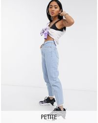 Noisy May Mom Jeans In Light Wash - Blue
