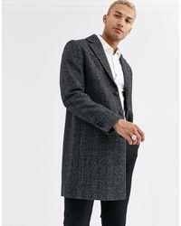 ASOS – karierter Mantel aus Wollgewebe - Grau