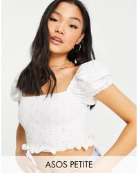 ASOS Asos Design Petite Square Neck Broidery Shirred Top With Puff Sleeve - White