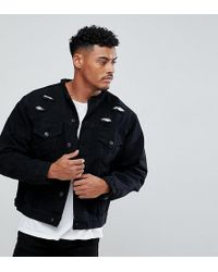 SIKSILK - Collarless Muscle Denim Jacket In Black With Distressing - Lyst