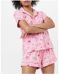 Chelsea Peers Пижамный Комплект Розового Цвета Из Рубашки И Шорт С Красными Валентинками -розовый Цвет
