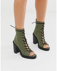 ASOS Массивные Ботинки Цвета Хаки Для Широкой Стопы С Открытым Носком И Шнуровкой - Зеленый