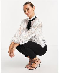 ASOS Lace Ruffle Blouse With Dobby Insert - White