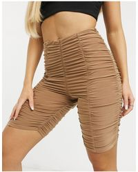 Club L London Slinky Ruched Detail Bodycon Short - Natural