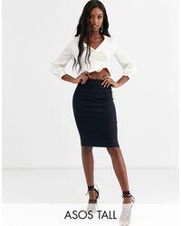 ASOS Asos Design Tall High Waisted Pencil Skirt - Blue