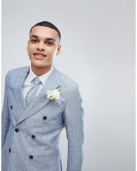 Reiss Slim Double Breasted Suit Jacket - Blue