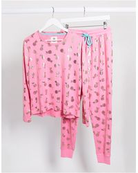 Chelsea Peers – Pyjama mit Ananasfoliendruck - Pink