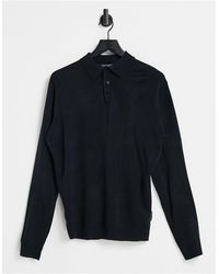 French Connection Long Sleeve Polo - Blue