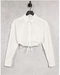 Bershka Wrap Around Cropped Poplin Shirt - White