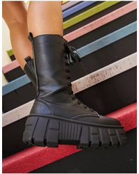 ASOS Athens 2 Chunky High Lace Up Boots - Black