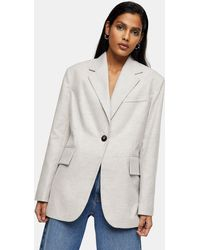 TOPSHOP Flannel Blazer - Grey