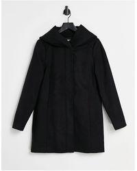 ONLY Long-line Hooded Zip Up Coat - Black