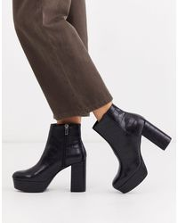 Stradivarius Moc Croc Platform Boots - Black