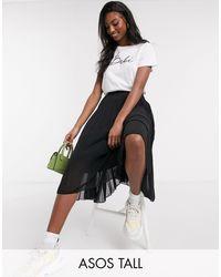 ASOS Asos Design Tall Pleated Midi Skirt - Black