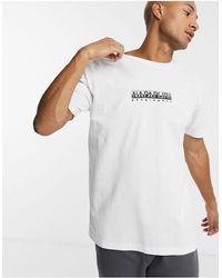 Napapijri - T-shirt bianca con logo riquadrato - Lyst