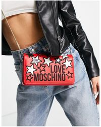 Love Moschino Красная Сумка На Плечо С Логотипом И Звездами -красный