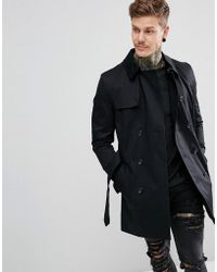 River Island Double Breasted Belted Trench Coat In Black