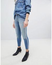 ONLY Skinny Jeans Versierd Met Parels - Blauw