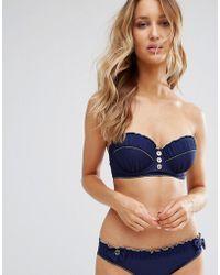 Floozie Navy Longline Uw Bikini Top B - E Cup - Blue