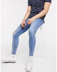 New Look Spray On Ripped Jeans - Blue