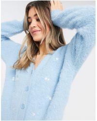 New Look Пушистый Кардиган Голубого Цвета С Вышивкой (от Комплекта)-голубой - Синий