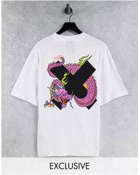 Collusion Unisex - T-shirt oversize avec logo et dragon imprimés - Blanc