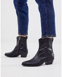 Vagabond Черные Кожаные Ботинки В Стиле Вестерн Emily-черный