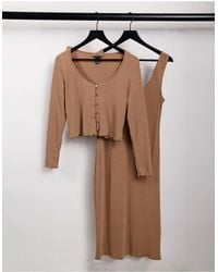 New Look Ribbed Dress And Cardigan Twinset - Brown